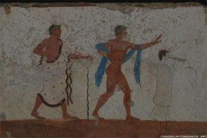 Muurschilderingen uit het museum in Paestum in Cilento.